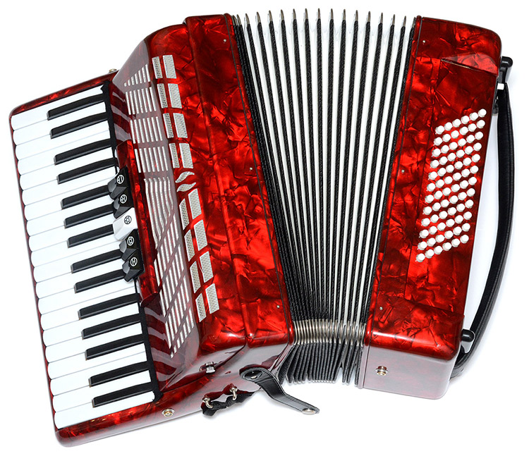 Picture of an accordion with 72 buttons