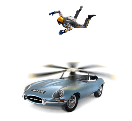 Illustration of the flying car, a skydiver floats above a Jaguar E-type with a large propeller on it