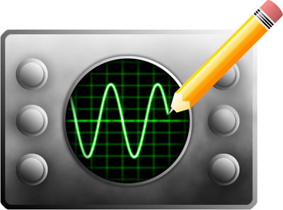 Reverse oscilloscope illustration, a pencil is drawing the phosphor trace