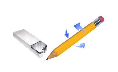 Form tool approaching a spinning pencil