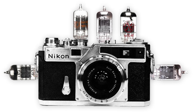 Illustration of the Valve Amp Camera, a Nikon SP with valves everywhere