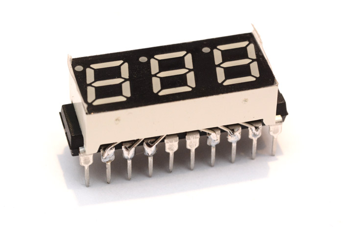 Seven segment display soldered directly onto an ATtiny chip