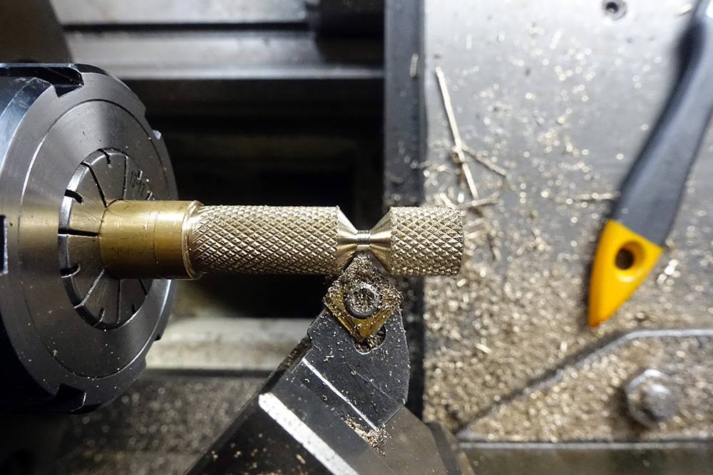 Forming the tapered section, by using the angle of the insert cutting tool