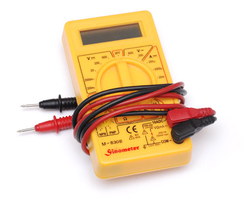 The closed-up multimeter with leads wrapped around it