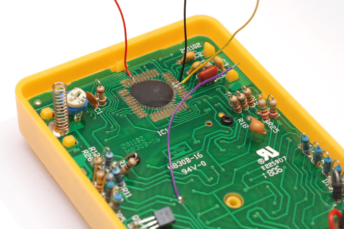 Soldering wires to the circuit of a multimeter