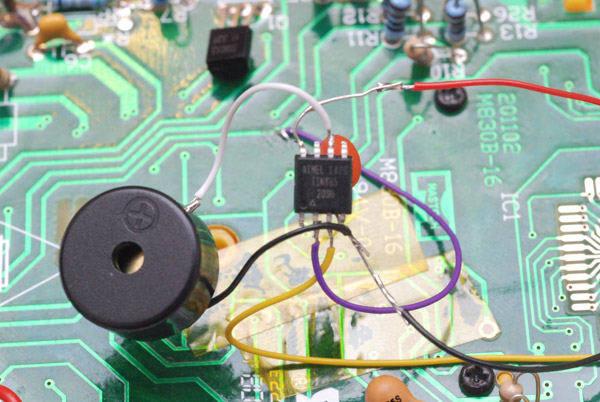 Closeup of the continuity tester circuit wired up