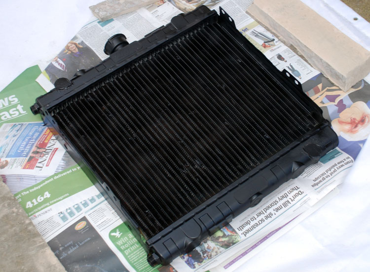 Modified radiator after spray painting