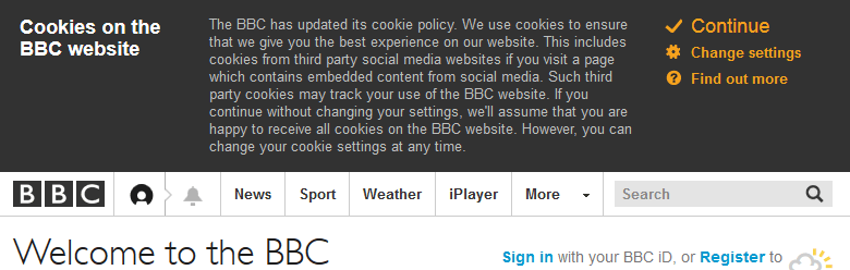 BBC cookie message