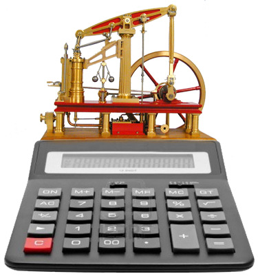 Illustration of a steam-powered calculator