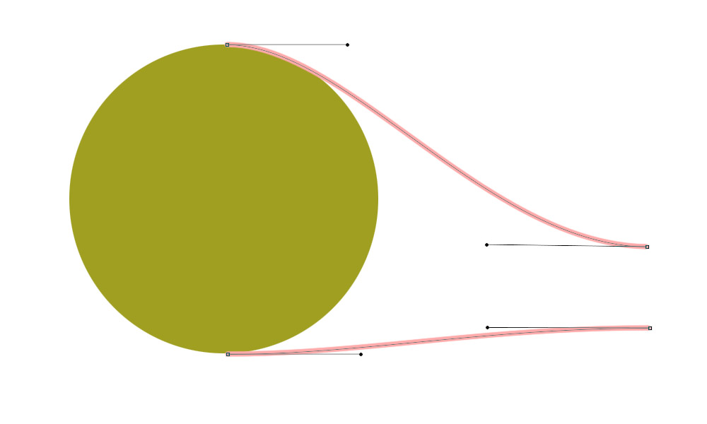 A circle and some bezier curves with the control points visible