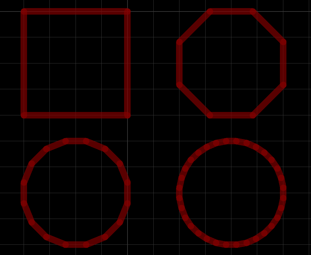 A square track turns into a circle