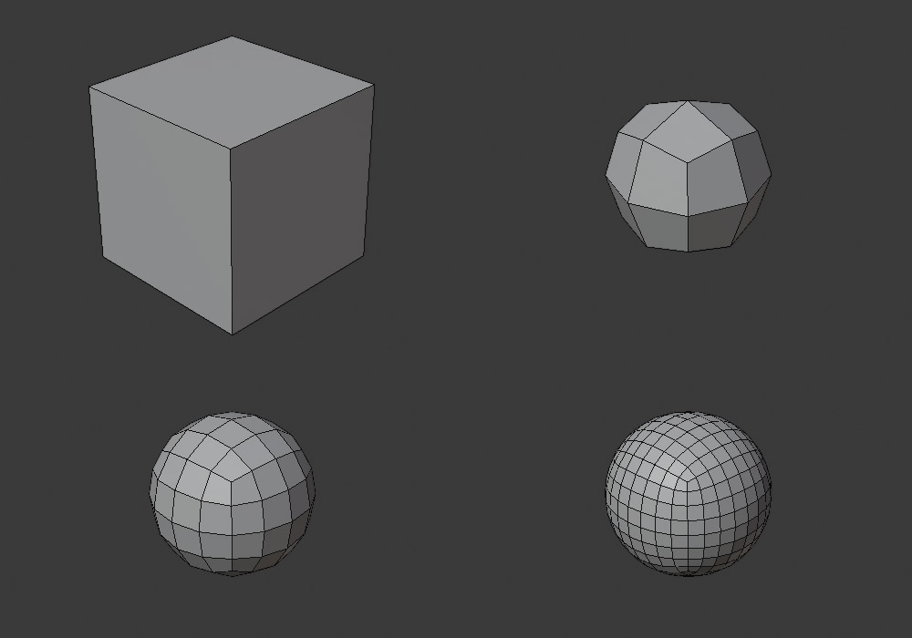 A cube turns into a sphere via subdivision surface