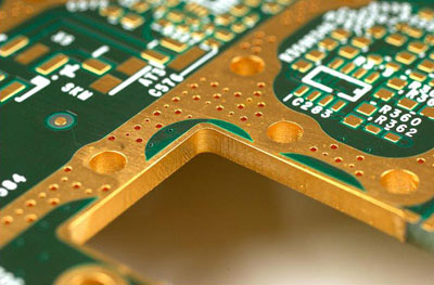 Stock image of fully enclosed edge plating on a PCB