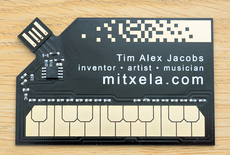 The stylocard. Reads: Tim Alex Jacobs - inventor, artist, musician - mitxela.com